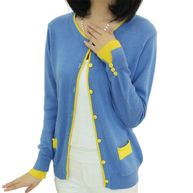 Кардиган женщин кашемир лоскутное о-образным шею sueter Большой размер свободного покроя дизайн конфеты цвет свитера женщина