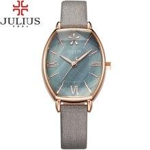 2016 Julius Marca Oro Rosa Creativo Mujeres Viste el Reloj Reloj de Cuarzo de Cuero Delgada Mujer de La Vendimia Relojes Reloj Montre Femme