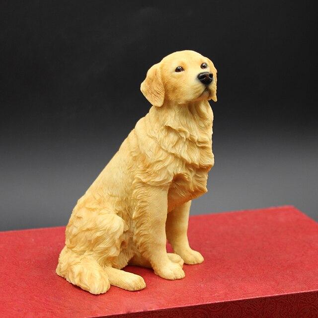Chien Peint golden retriever chien peint À la main figurine résine statue de