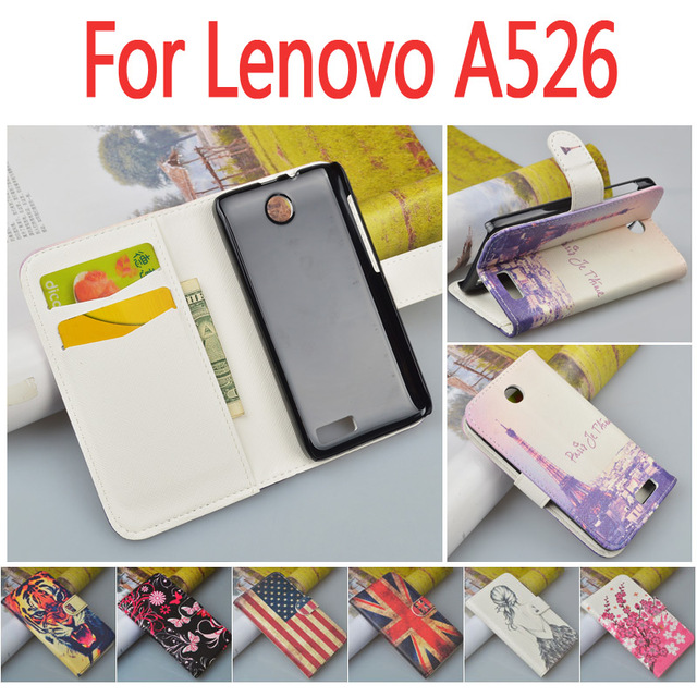 Business luxury leather case for Lenovo A526 A 526 flip cover case housing With card slot