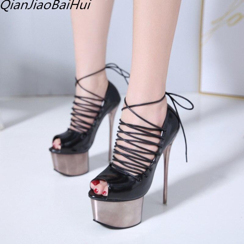 peep toe high heels 2018 extreme high heels platform black ankle strap pumps women summer shoes and sandals stripper boots все цены