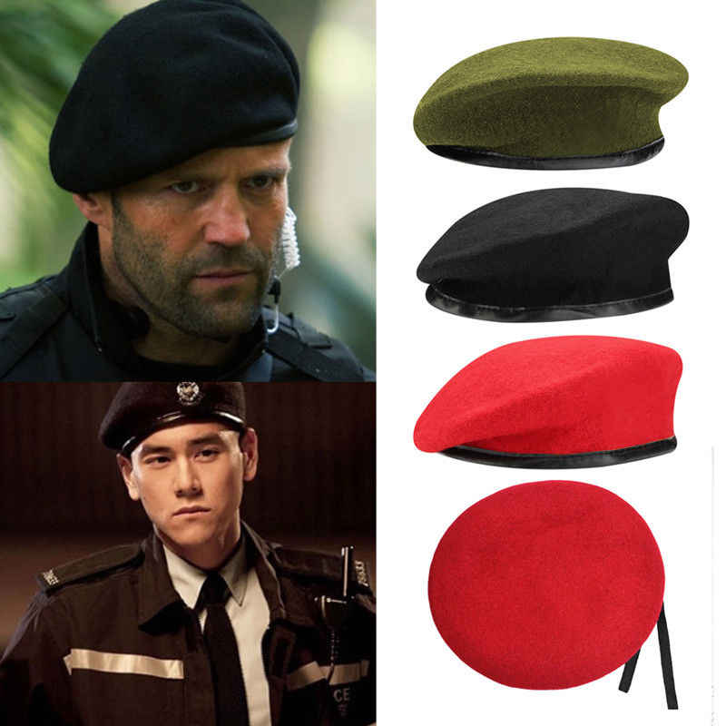 103eaecfd25a2 ... Fashion Military Soldier Army Hat Unisex Men Women Wool Beret Cap Men  Hot Berets Male Hats ...