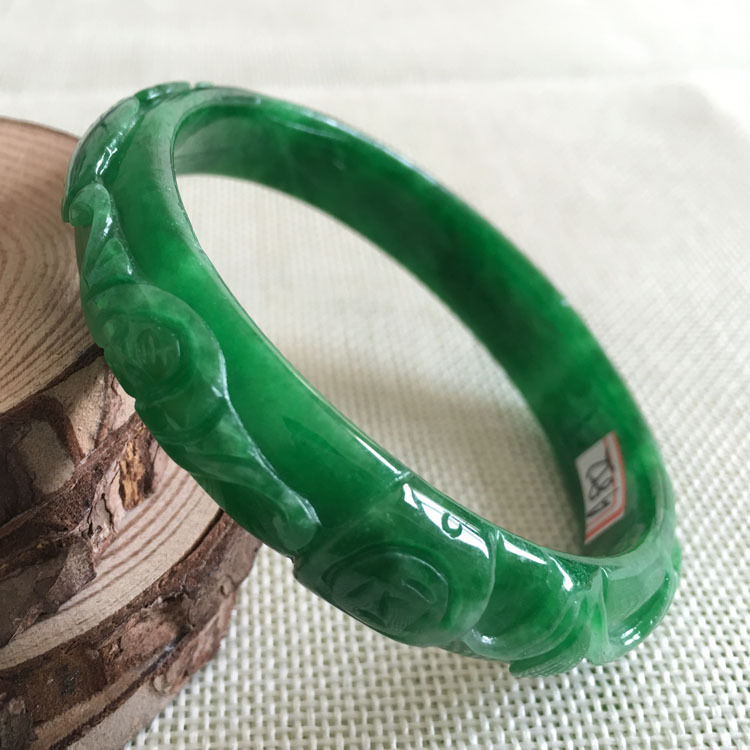 FREE SHIPPING>>>@@ 60mm Vintage Chinese Hand-carved Green stone stone Bracelet Bangle 852 NEW цена