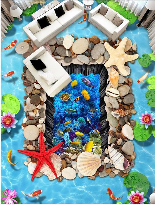 3d flooring room self adhesive wallpaper custom 3d floor Lotus carp starfish shellfish 3d murals flooring photo wallpaper 3d flooring room self adhesive wallpaper custom 3d floor dolphin coral 3d murals flooring