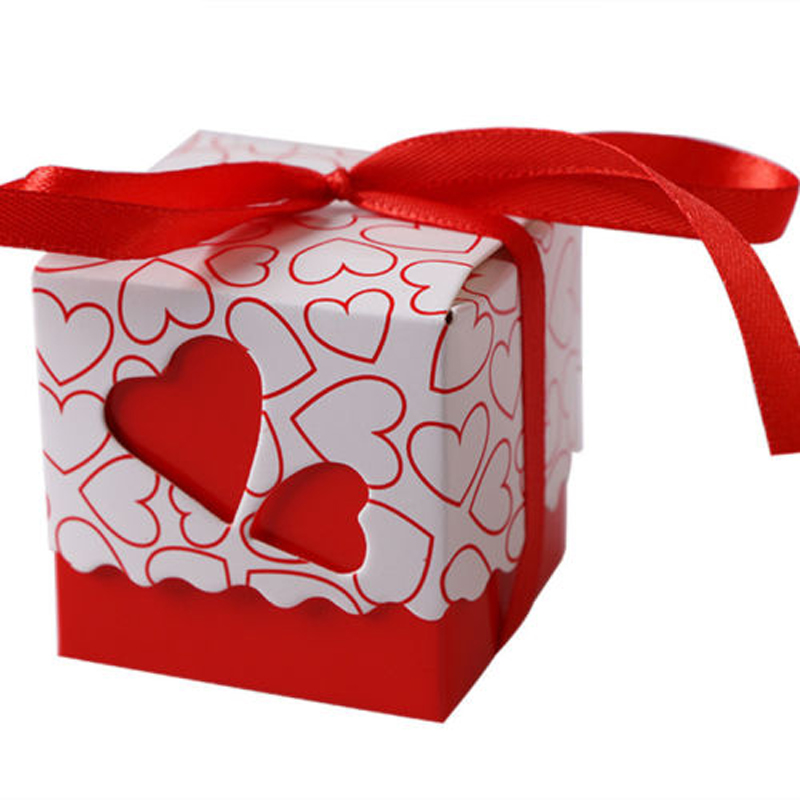 10/50/100Pcs Love Heart Design Wedding Favor Candy Boxes Gift Boxes With Ribbons Kraft Pillow Shape Party Candy Box