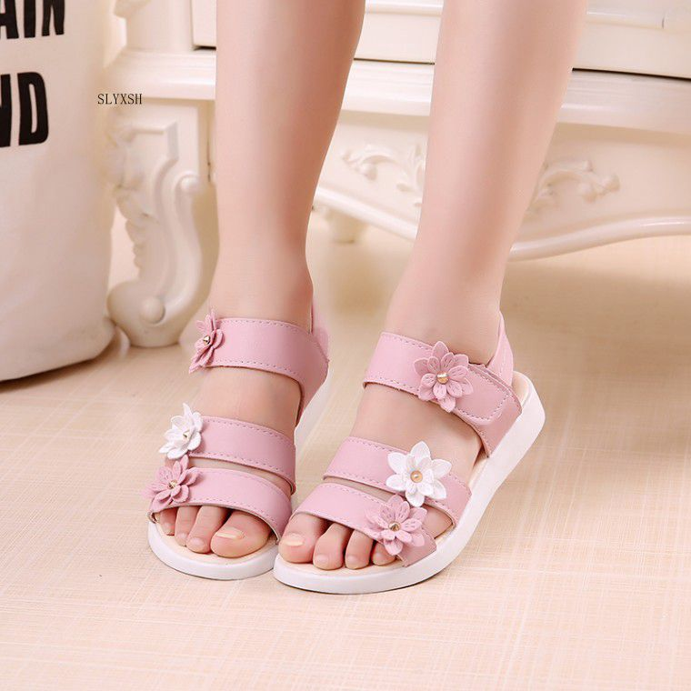 Summer Fashion Cute flower Ankle Strap Kids Girls Jelly Shoes Sandals