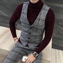 3pc Suit Men British Styl Latest Coat Pant Designs Royal Blue Mens Suit Autumn Winter Thick Slim Fit Plaid Wedding Dress Tuxedos