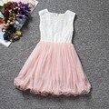 Лето цветка печать кружевном платье девочку от 2 до 9 лет возраст на день рождения жемчужина картины Chlidren одежды ну вечеринку крещение