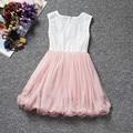 Impresión del verano vestido de encaje de flores Baby Girl 2 a 9 años cumpleaños de vejez modelo de la perla Chlidren ropa del partido del vestido de bautizo