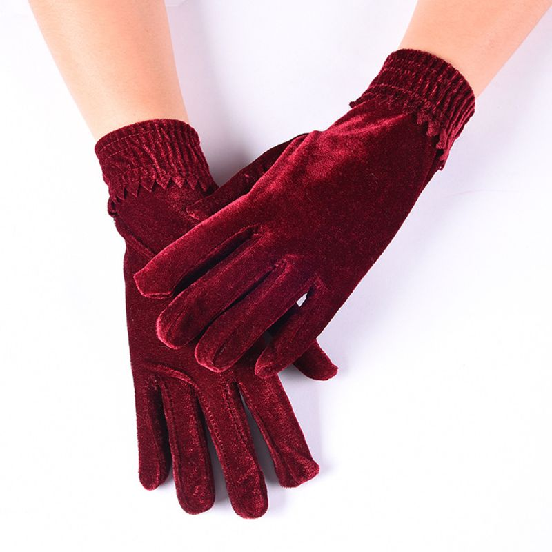 Fashion Elegant Female Velvet Wool Touch Screen Gloves Winter Women Warm Full Finger Leather Gloves