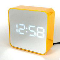 Digital Snooze Function LED Bedside Table Watch Alarm Clock Simple And Elegant Mirror White Light Battery Electronic