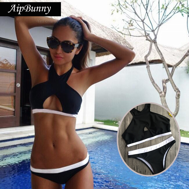 Aipbunny Hot Sexy Black Halter Brazilian Swimsuit Bikinis Set Women 2018 Swiming Bathing Suit Beach Wear Biquinis Mujer Swimwear