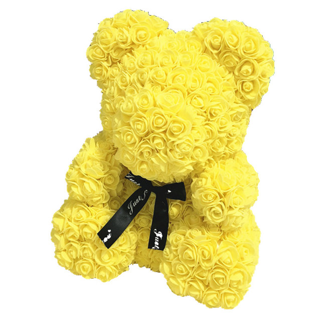 Wedding Customized Gift Multicolor Valentines Gift 40cm PE Yellow Rose Bear for Girlfriend Gift Anniversary Gift free shipping 5
