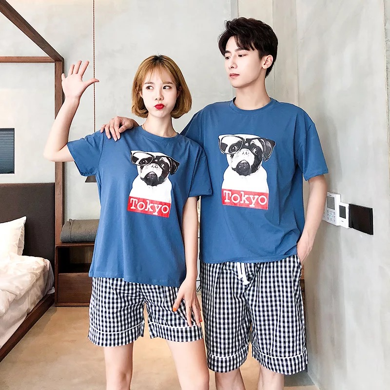Short-Sleeved Summer Pyjama Loose Ladies Style Couple Pijama Set Sleepwear Top+ Pants Young Lovers Pajamas Sets Women Nightwear