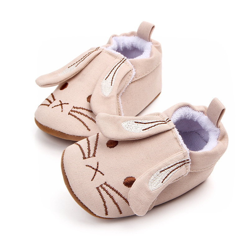 Spring Baby Shoes Infant PU Girls Boys Shoes Soft Sole Anti-slip Rabbit Pattern Crib Shoes First Walkers Walking Shoes