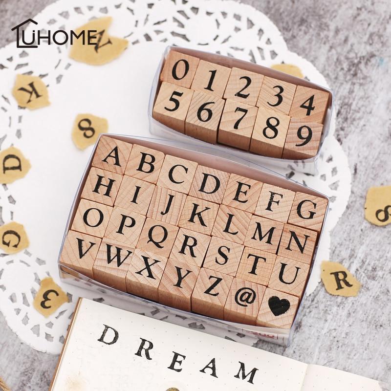 Vintage Wooden Alphabet Number Stamps Set Diary Decoration Ablum Wedding Alphabet Stamp Digital Number Symbol Seal Chapter