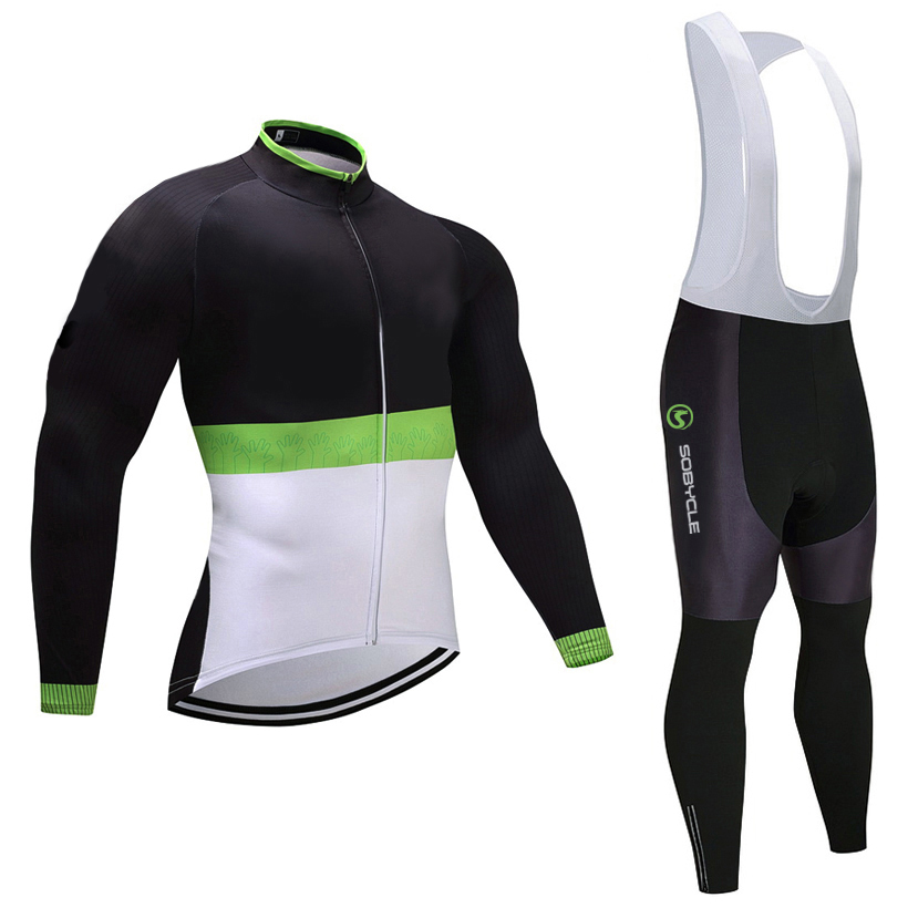 2018 Black TEAM cycling jersey 9D gel pad bike pants set mens MTB Ropa Ciclismo breathable long sleeves bicycling Maillot wear