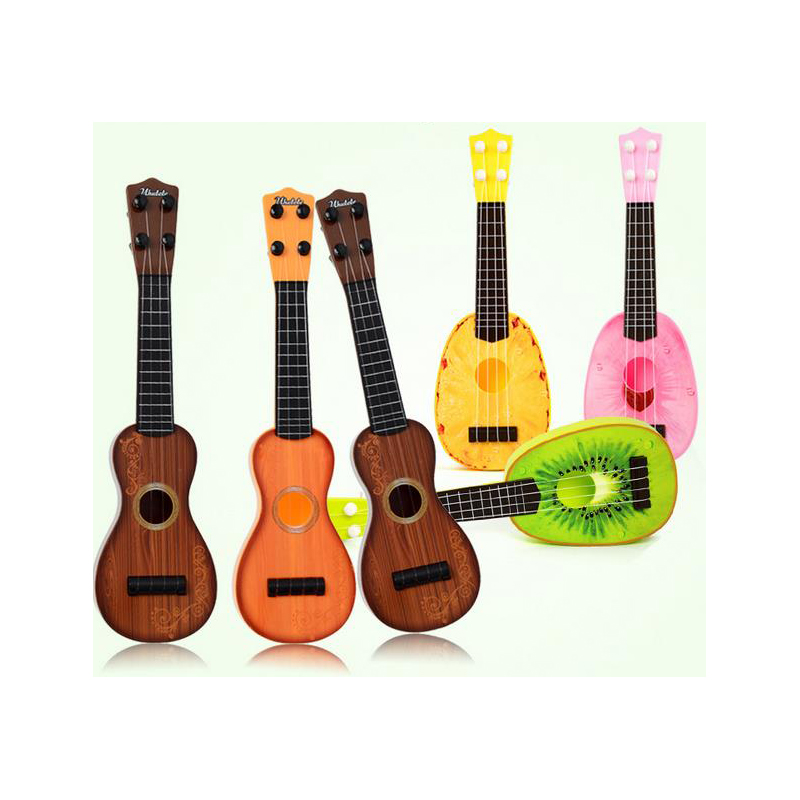 mini guitar abs material musical instrument toy four strings guitar 3 sizes early learning toys. Black Bedroom Furniture Sets. Home Design Ideas