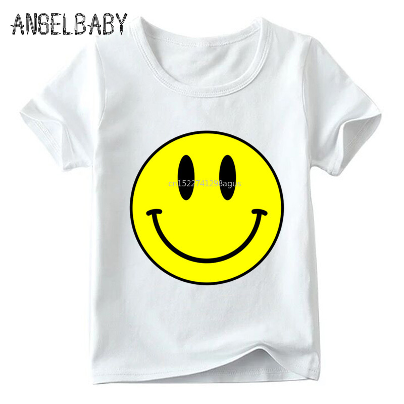 Children Smile Face Print Funny T Shirt Boys And Girls Summer Short Sleeve Tops Kids Soft White T-shirt,ooo5040