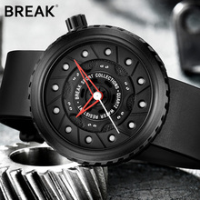 BREAK Top Luxury Men Racing Motorcyle Sport Watches Rubber Strap Casual Fashion Passion Waterproof Geek Creative Gift Wristwatch