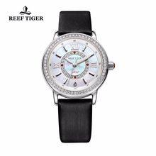 Reef Tiger/RT Popular Elegant Womens Watches Calfskin Leather Strap MOP Dial Ronda 763 Quartz Diamonds Watches RGA1563