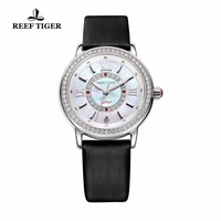 Reef Tiger/RT Popular Elegant Womens Watches Calfskin Leather Strap MOP Dial Ronda 763 Quartz Diamonds Watches RGA1563