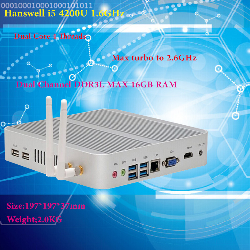 Intel I5 4200U Hanswell Intel HD Graphics 4400 Barebone Fanless I5 Mini-pc Windows 7 win8 win10 4 K VGA Mini HDMI Nettop Htpc