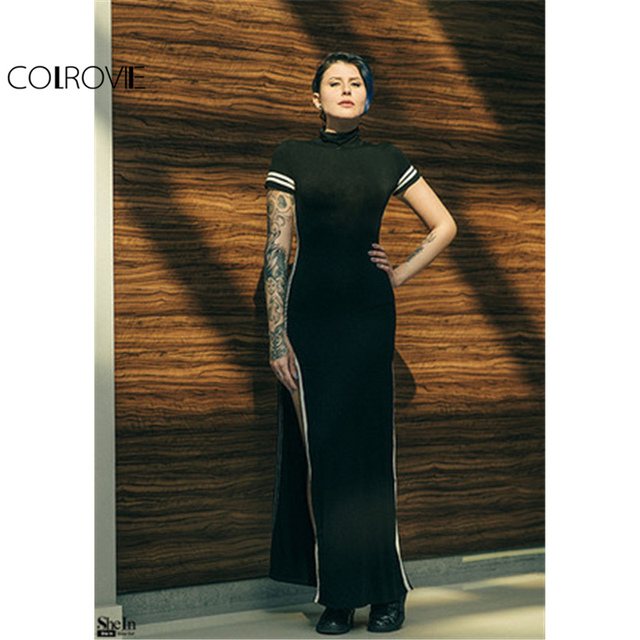 1cf8b376e91 Sexy Wear Style Bodycon Dresses Black Cut Out Striped Trim Short Sleeve  High Neck Split Sheath Maxi Dress