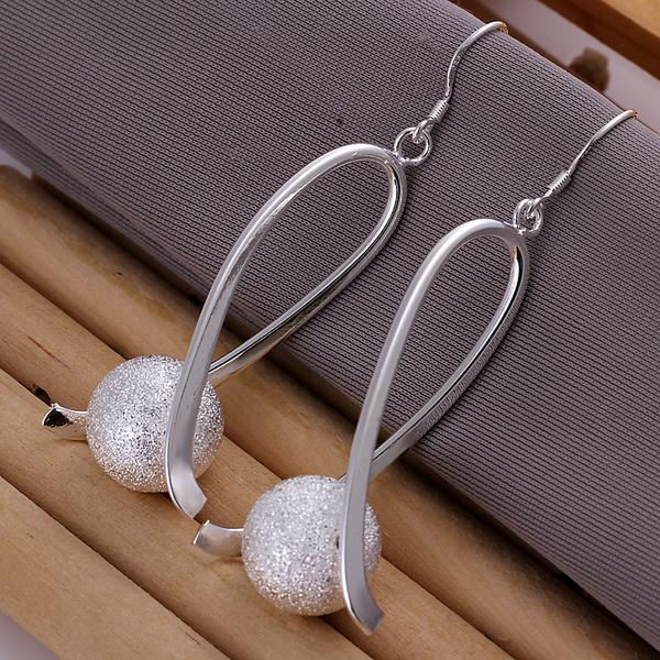 New Fashion Jewelry Silver Matte Beads Peace Sign Drop Earrings Ear Studs For Women Gift KQS