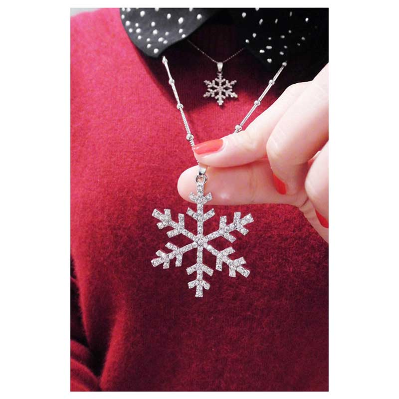 BEAUTIFUL PLAN Crystal Double Snowflake Long Necklace For Women Wholesale ...