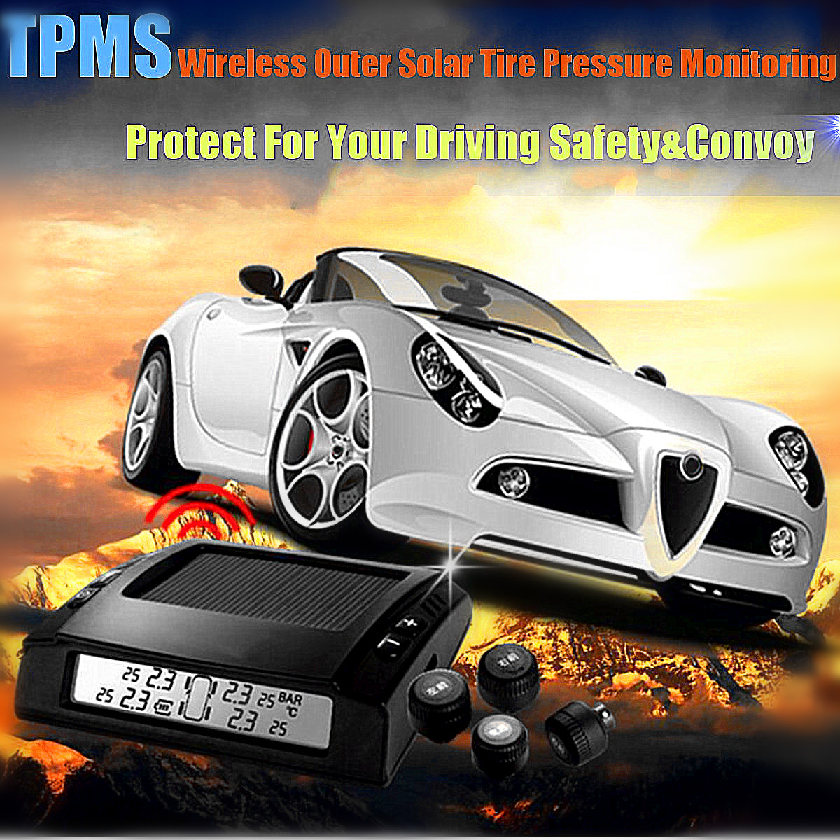 Solar Power Wireless Tire Pressure Alarm Car TPMS Tyre Tire Pressure Monitoring System 4 x External Sensors Digital LCD Display universal car auto tpms tire tyre pressure monitoring system led display with 4 external sensors