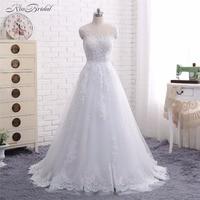 2018 New Arrival Wedding Dresses Vestido De Noiva A Line Scoop Neck Lace Appliques Sheer Bridal