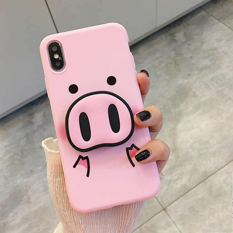Cartoon Pig Nose For iPhone X XS MAX XR Case 3D Half wrapped Cover for iPhone 6 6s Plus 7 8 X Cover Soft Silicone Support Stand