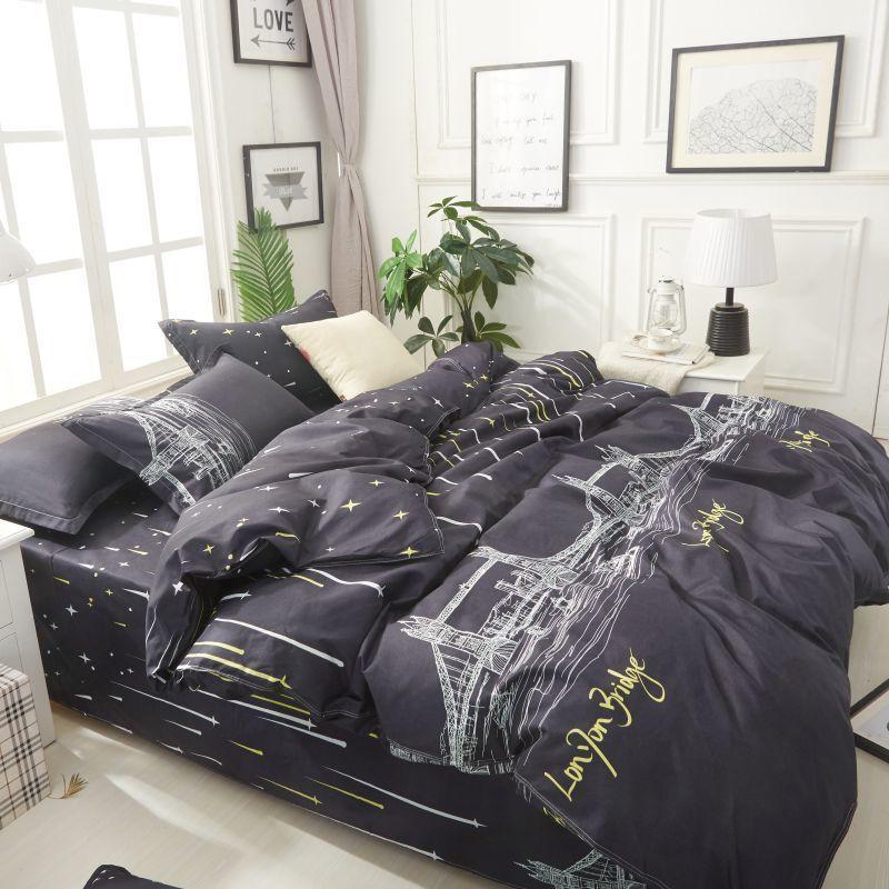 Solstice Home Textile London Bridge Black Linen Boy Kid Teen Bedding Set Duvet Cover Pillowcase Flat Bed Sheets Girls Bedclothes