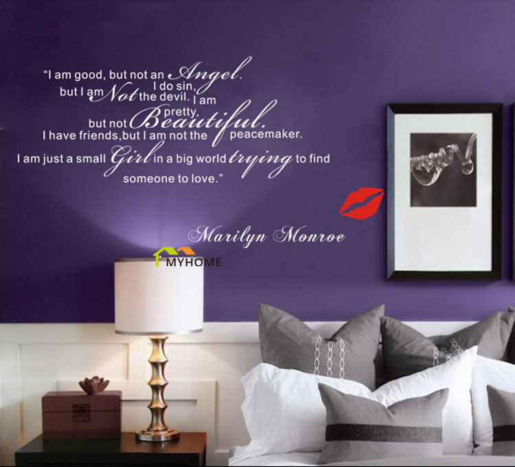 Aliexpress.com : Buy Marilyn Monroe Wall Decals Art Home Living Room  Bedroom Decorative Sweet Love Quotes Vinyl Wall Stickers From Reliable  Decorative ... Part 86