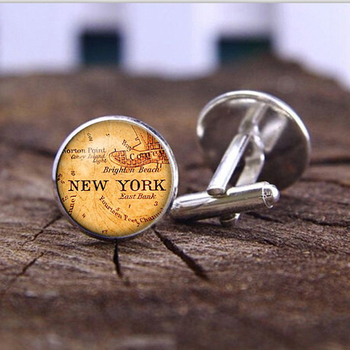 SUTEYI Fashion New York Map Cufflinks For Mens Silver Plated Art Picture Cufflinks vintage Map Glass Dome Cuff links Jewellery image