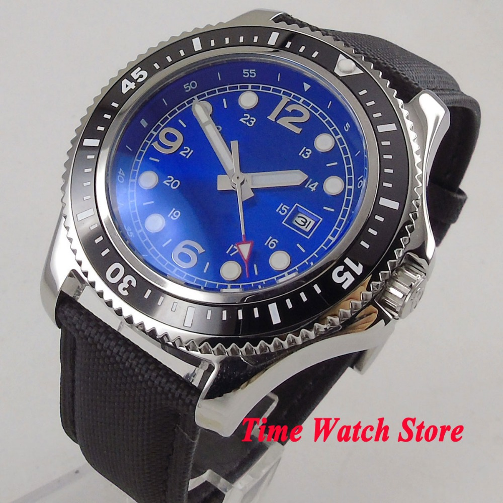 Solid 44mm SS case no logo men's watch blue dial luminous date ceramic bezel MIYOTA Automatic movement wrist watch men 121 цена