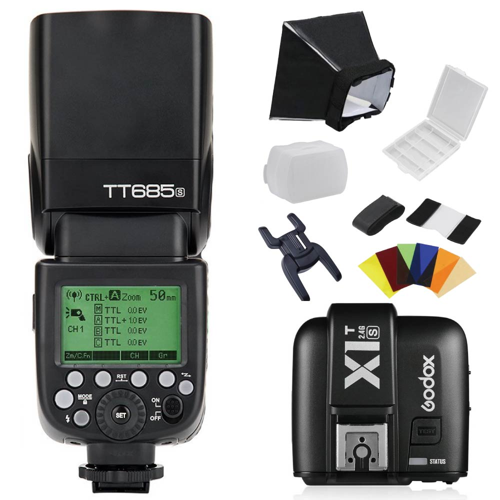 Godox TT685S 2.4G HSS TTL Camera Flash Speedlite + X1T-S 2.4G TTL Wireless Transmitter + S-Type Bracket Bowens S Mount Holder godox v860iic v860iin v860iis x1t c x1t n x1t s hss 1 8000s gn60 ttl flash speedlite 2 4g transmission godox softbox filter