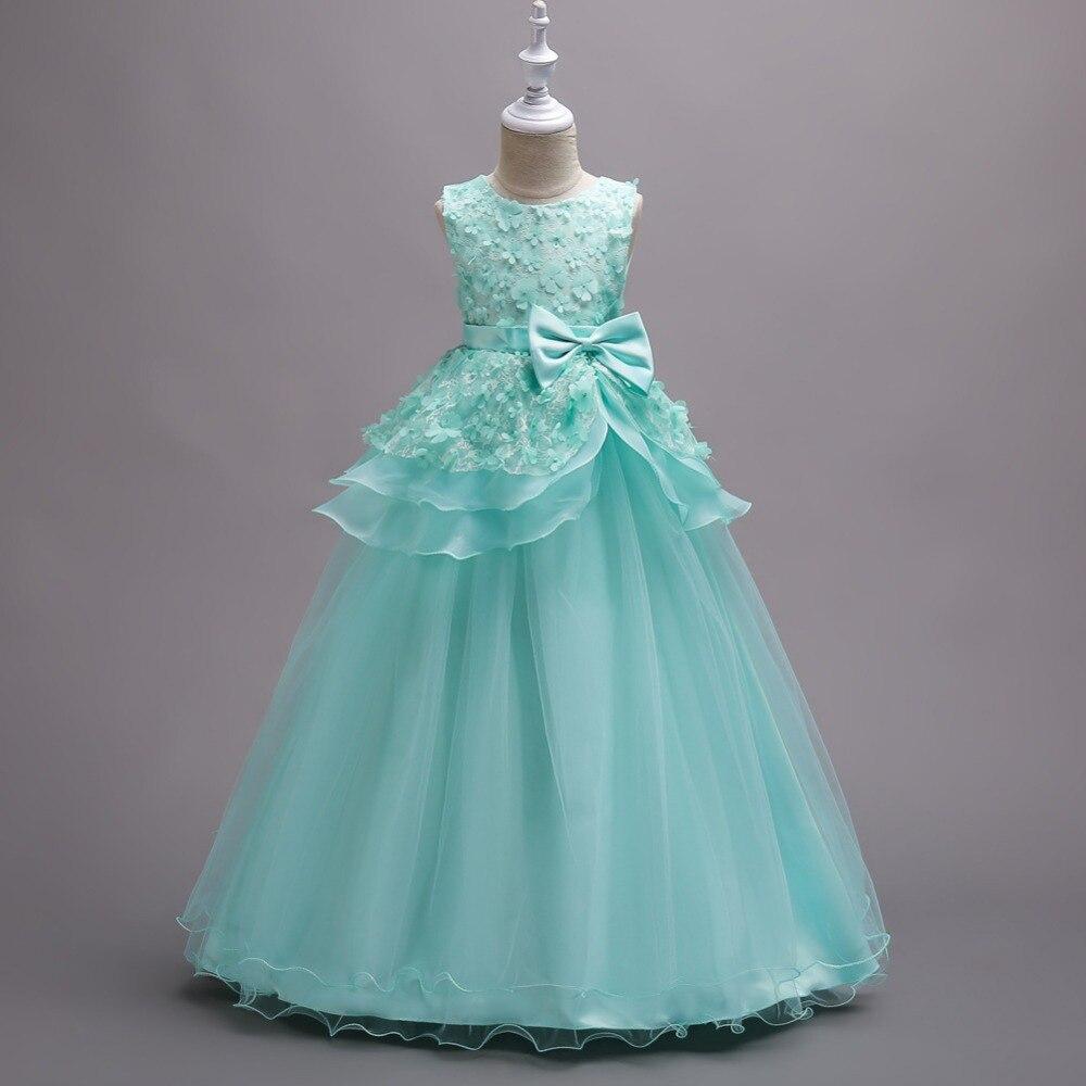 Girls Long Pageant Dresses Fashion Elegant Children Wedding Dress ...
