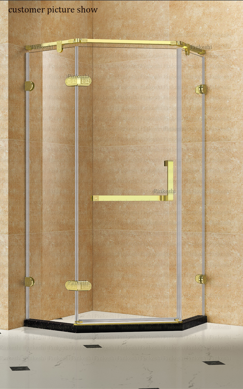Us 29 0 Shower Room Glass Connector Caved Flower Gold Glass Clamps Brass Made Glass Hinge Bathroom Copper Door Handles Set In Glass Clamps From