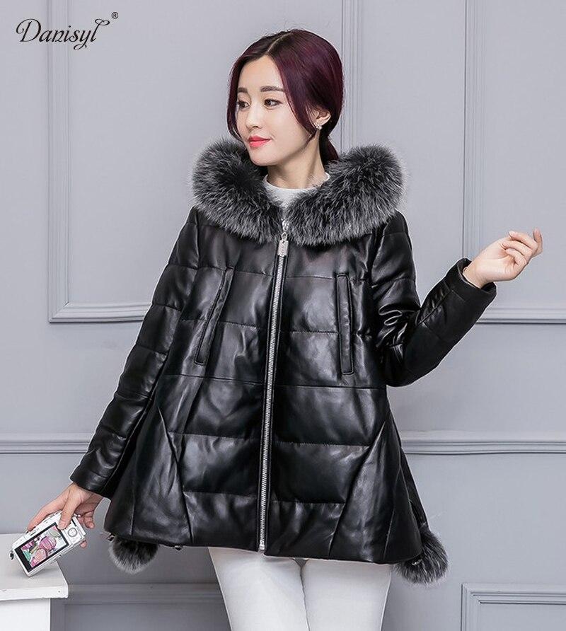 danisyl new women winter real fox fur collar hooded jacket 100 genuine sheep skin leather duck. Black Bedroom Furniture Sets. Home Design Ideas