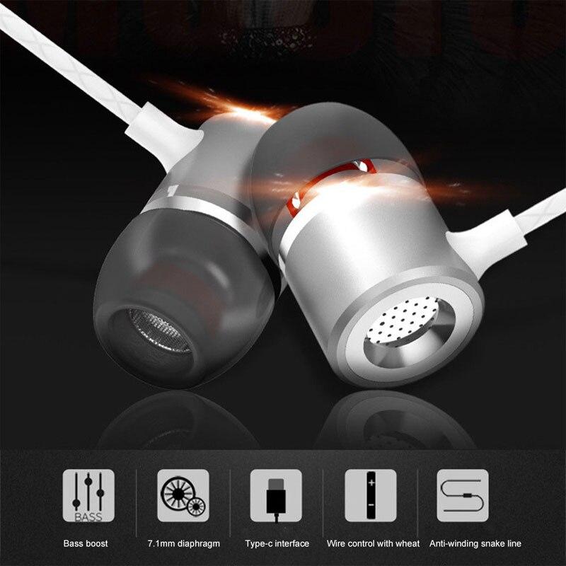 AHHROOU Stereo Head phones For Usb Leeco Type-C Earphone wit