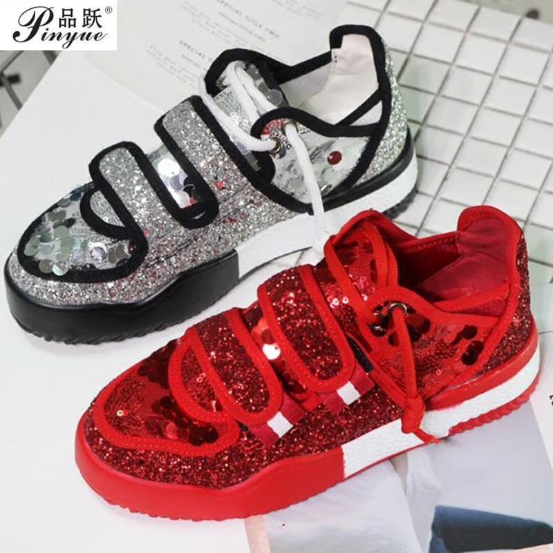 New 2018 Fashion Red Silver Lady Glitter Casual Shoes Women Sneaker Leisure Shoes Leather Dirty Flats Cross-tied Vulcanize women sneaker cow really leather flats luxury brand designer shoes casual shoes new fashion model confortable shoes lady