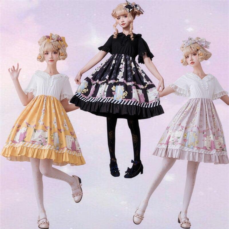 Викторианское винтажное милое женское шифоновое платье с цветочным принтом и короткими рукавами, кружевное платье с капюшоном в Стиле Лоли