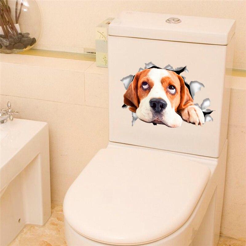 3d эффект собаки через стену стикер для ванной комнаты Туалет декор искусство яркие настенные наклейки с животными diy водонепроницаемый рос...