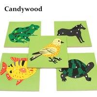Candywood Holz Montessori Baby Kinder Früh Pädagogisches Spielzeug Tiere Pflanzen Panel 3D Puzzle Hand Greifen Bord für kinder