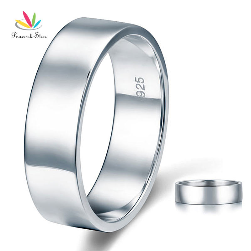 Peacock Star High Polished Men s Solid Sterling Solid 925 Silver Wedding Band Ring Jewelry CFR8056