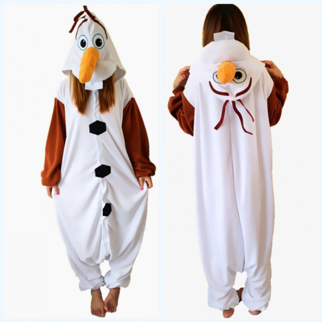 Movie Olaf the Snowman Adults Cute onesie Pajamas Women Cosplay halloween  Costume for women men Hooded 8b99584f0