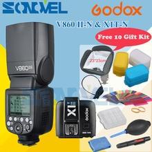 Godox V860II-N V860IIN GN60 i-ttl HSS 1/8000 s Speedlite Flash w/Akumulator litowo-jonowy + Nadajnik X1T-N Flash nikon + 10 Prezent zestaw