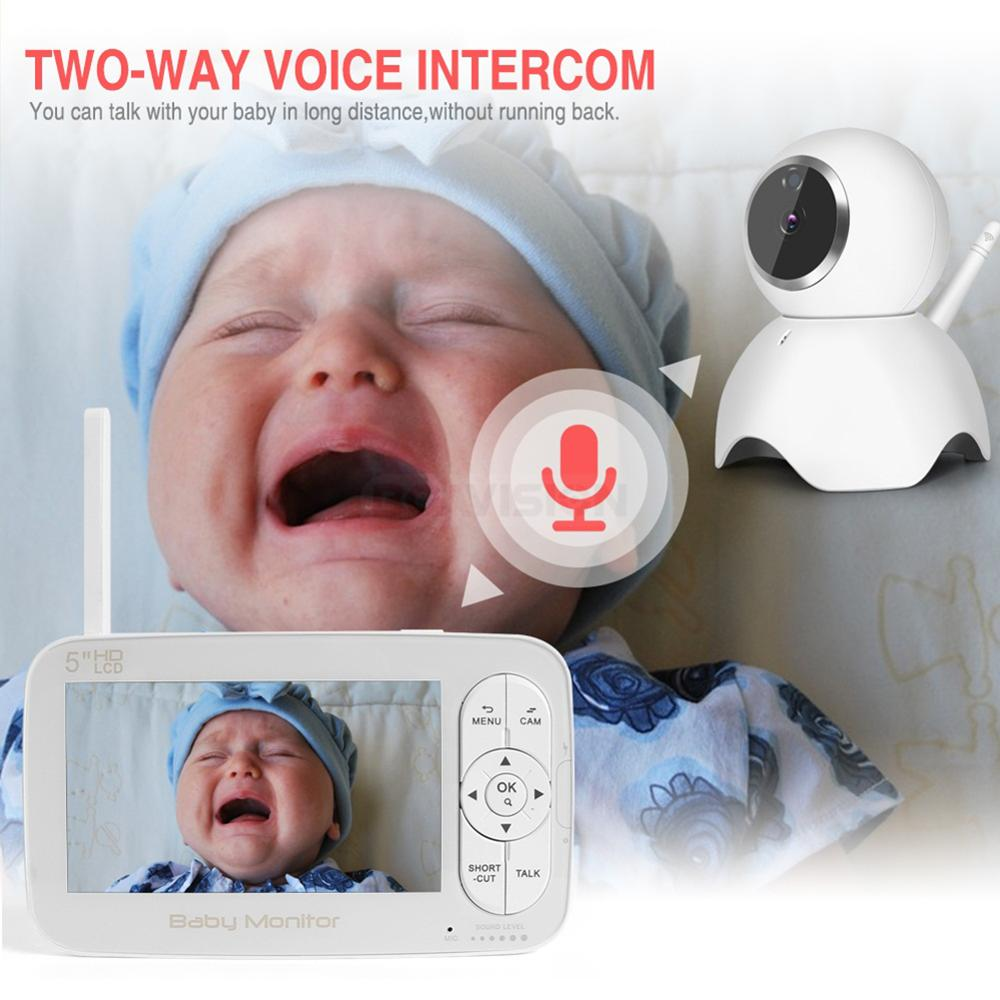 Image 5 - HD 720P Wireless Baby Monitor PTZ 360 Degree 5 Inch LCD Zoomable Baby Camera Night Vision Babysitter Nanny Video Security Camera-in Baby Monitors from Security & Protection